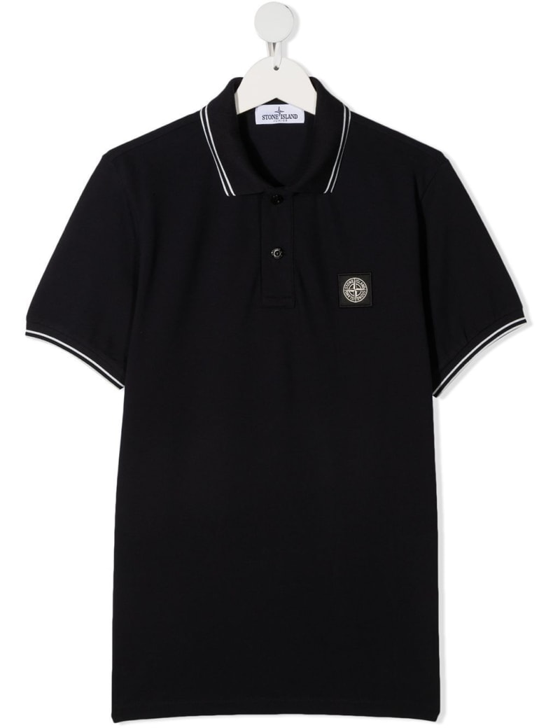 Stone Island Junior Jersey Polo With Logo Patch - Blu