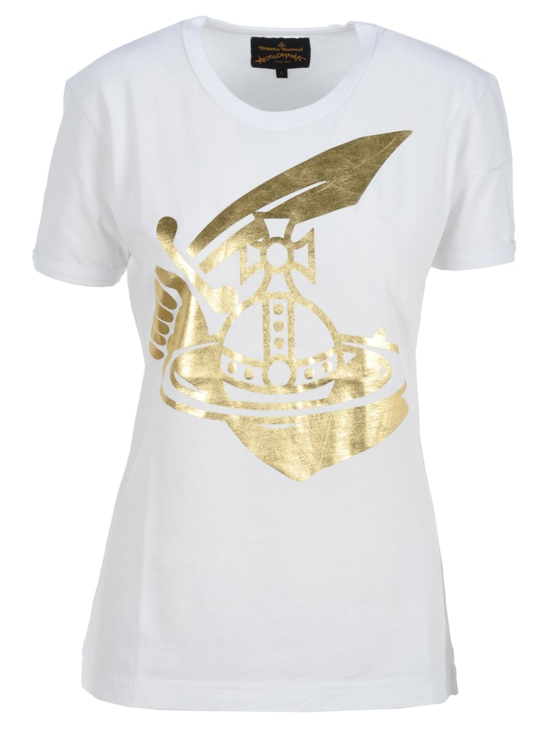 Vivienne Westwood Anglomania Anglomania Metallic Printed Logo T-shirt - WHITE