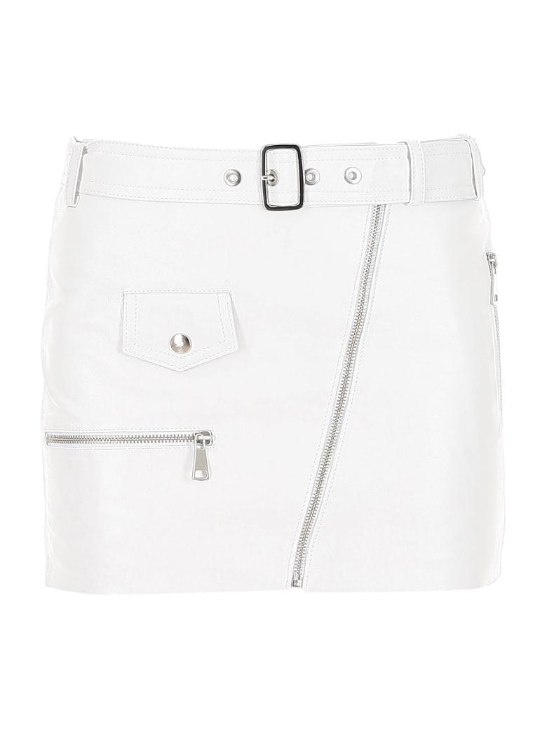 Manokhi Leather Biker Skirt - WHITE (White)