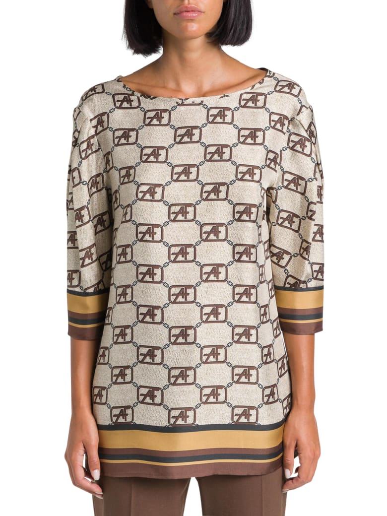 Alberta Ferretti Satin Blouse With Monogram Print - Beige