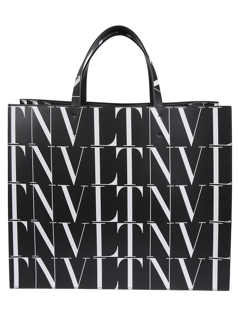Valentino Vltn Print Tote Bag - Black/White