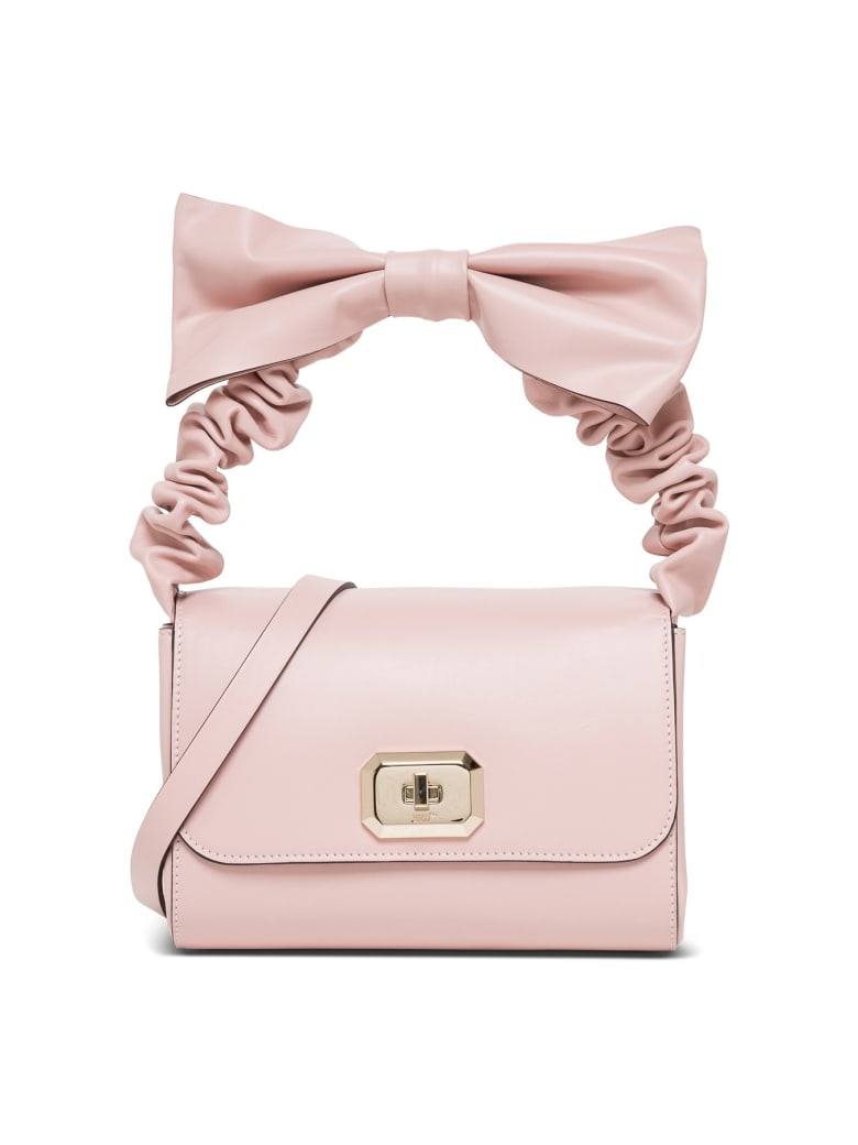RED Valentino Black Leather Handbag With Bow - Beige