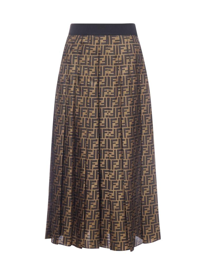 Fendi Ff-motif Silk Midi Skirt - Tobacco