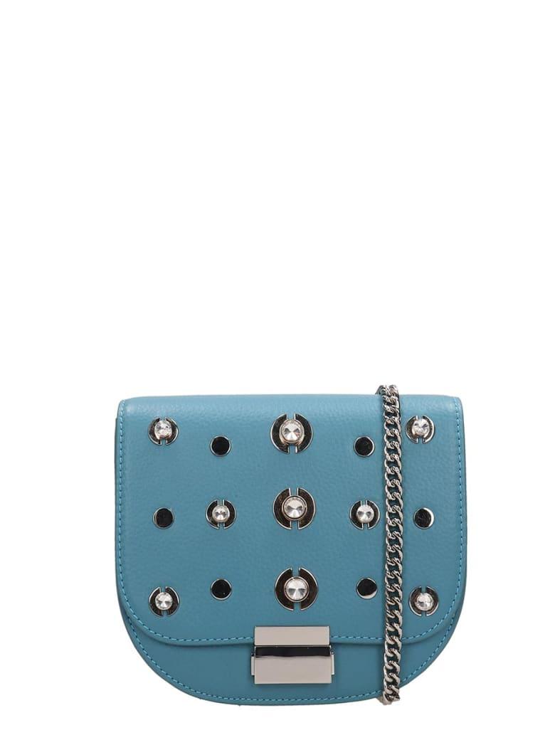 Lola Cruz Guss Light Blue Leather Bag - cyan