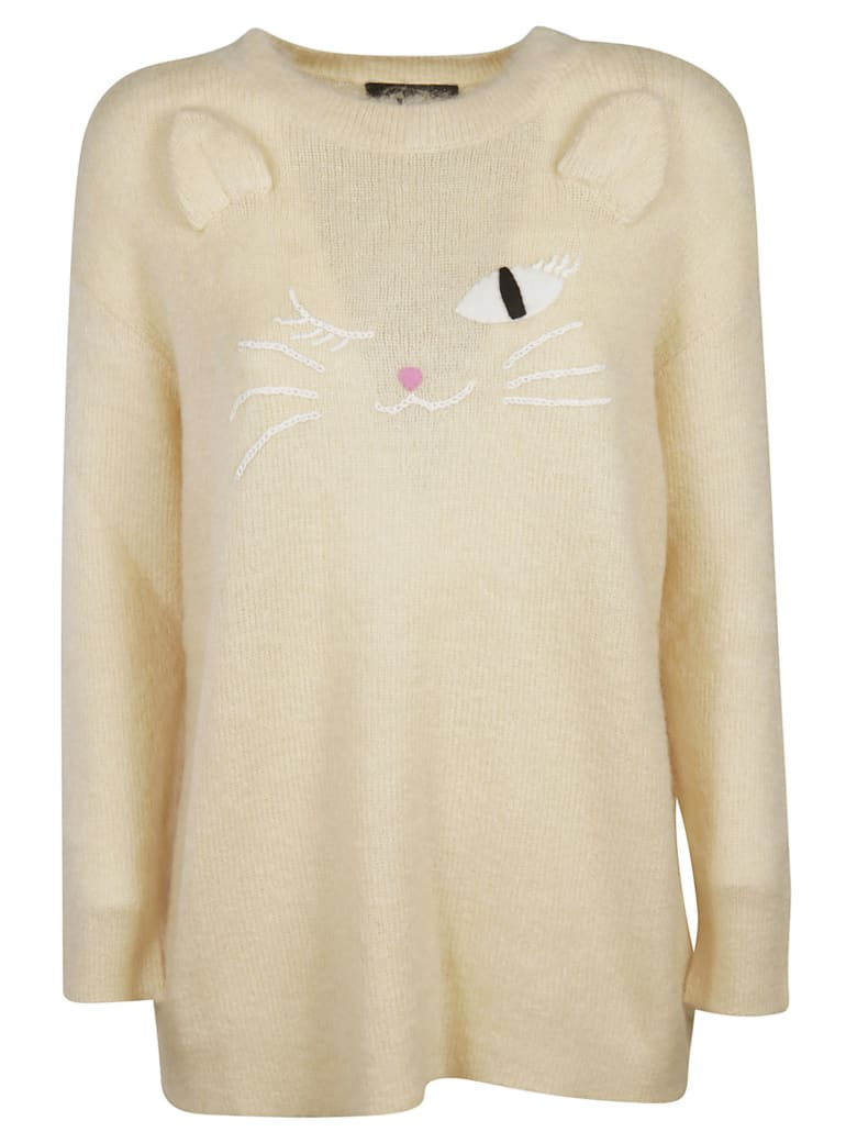 Moschino Embroidered Cat Sweater - beige