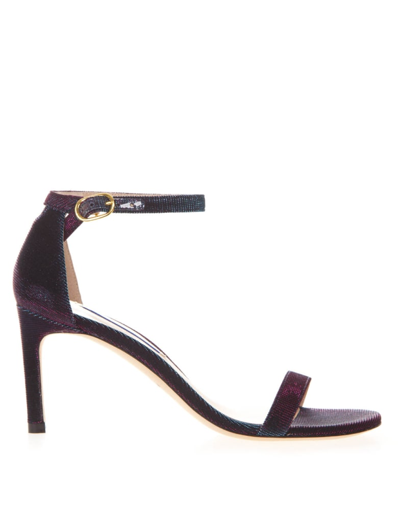 Stuart Weitzman Night Time Sandals In Metallic Purple Fabric - Violet