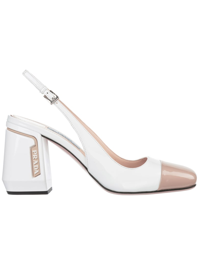 Prada  Leather Pumps Court Shoes High Heel - Bianco + Travert