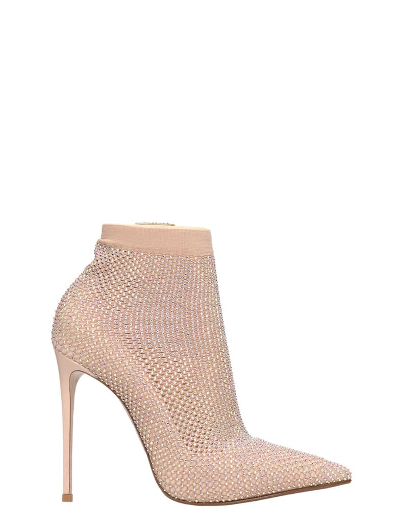 Le Silla High Heels Ankle Boots In Powder Tech/synthetic - powder
