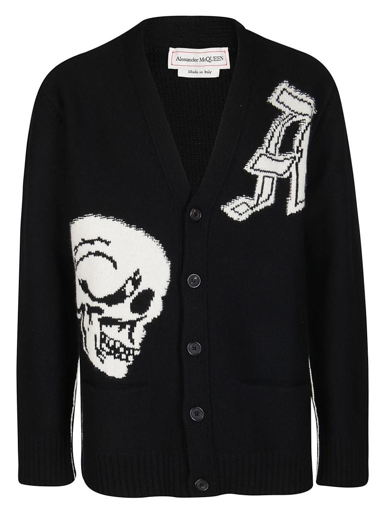 Alexander McQueen Black Wool Cardigan - BLACK WHITE