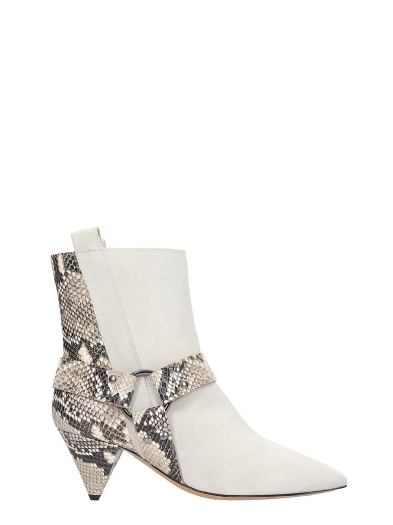 The Seller High Heels Ankle Boots In White Suede - white