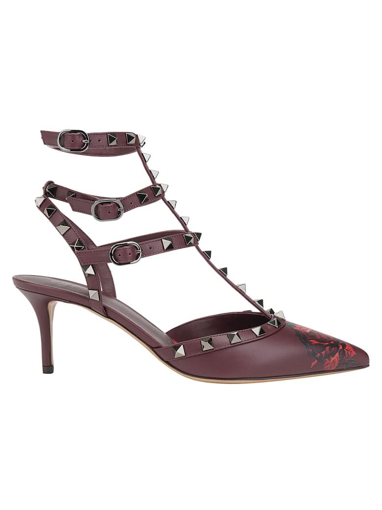 Valentino Garavani Rockstuds Ankle Strap Pumps - Rubin/rosso