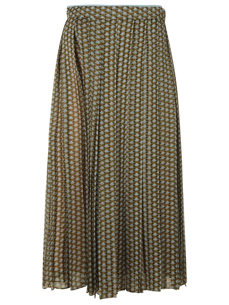 Fendi Calligraphy Chiffon Skirt - Brown/Blue