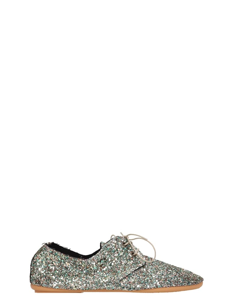 Anniel Green Glitter Laces-up Shoes - green