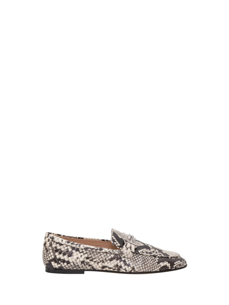 Tod's Python Printed Leather Loafers - Beige