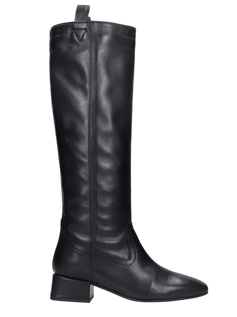 Fabio Rusconi Low Heels Boots In Black Leather - black
