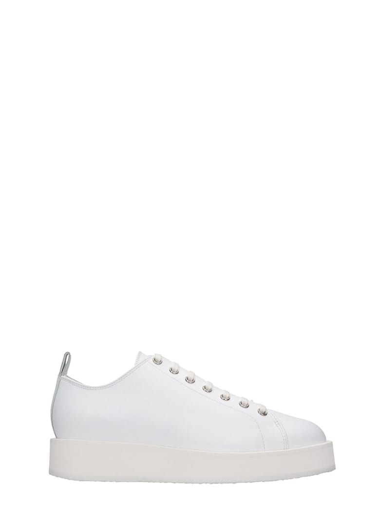 Jil Sander Sneakers In White Leather - white