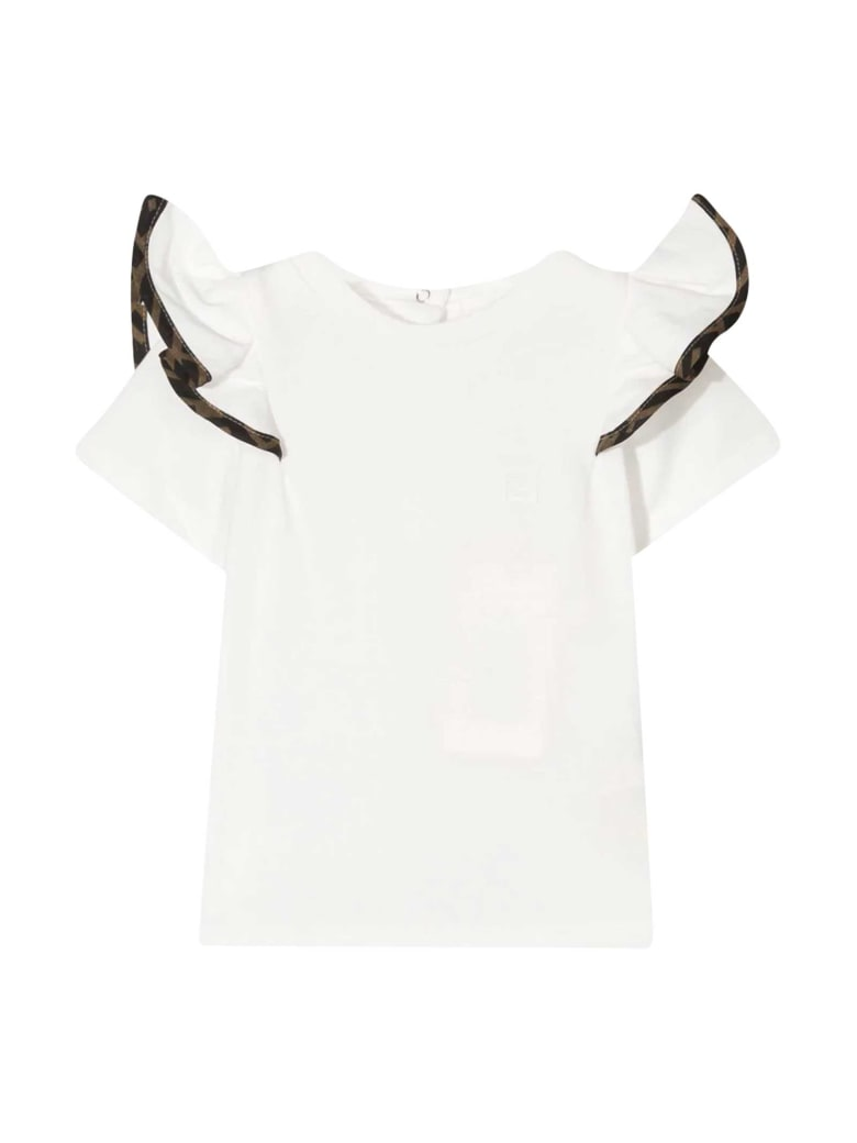 Fendi White T-shirt With Ruffles - Gesso