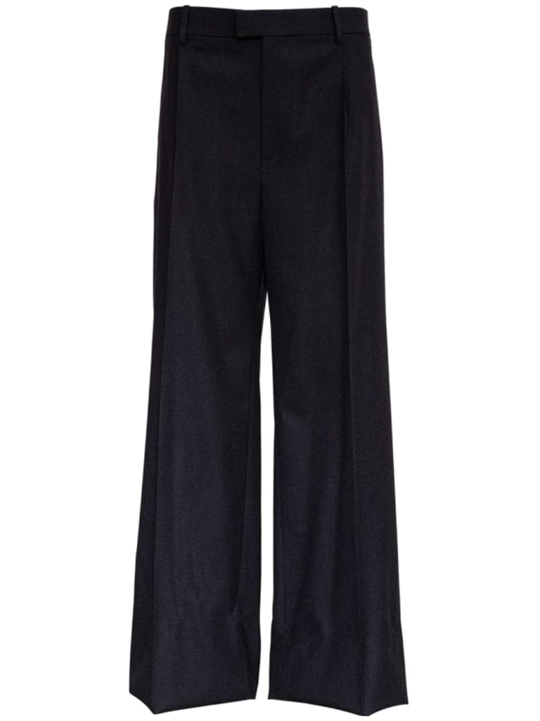 Bottega Veneta Wide Leg Pants In Gray Flannel - Grey