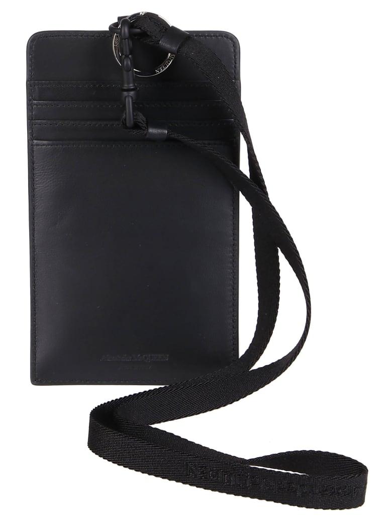 Alexander McQueen Black Leather Phone Case - Black