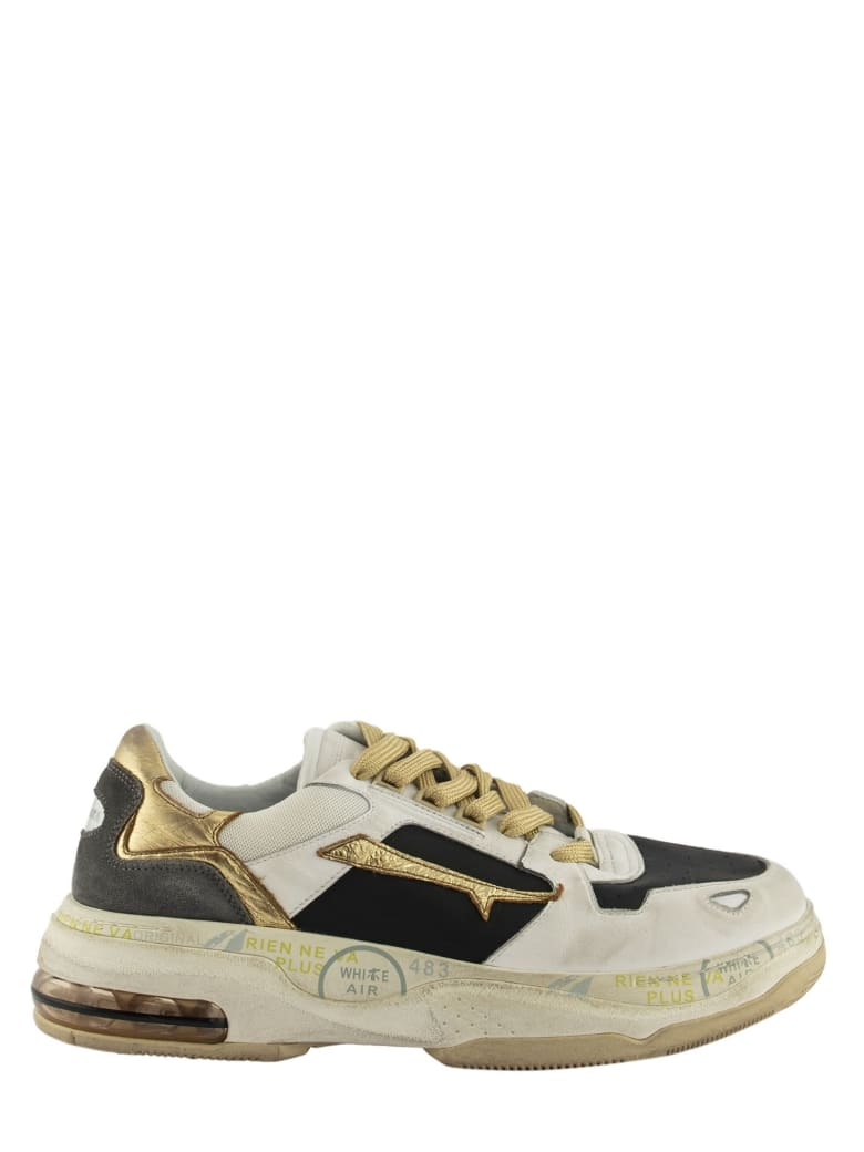 Premiata Drake 018 Sneakers White And Gold - White And Gold