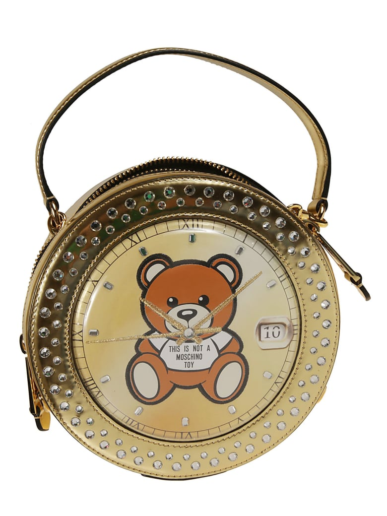 Moschino Teddy Clock Shoulder Bag - gold