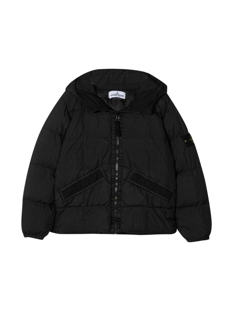 Stone Island Junior Black Down Jacket - Nero