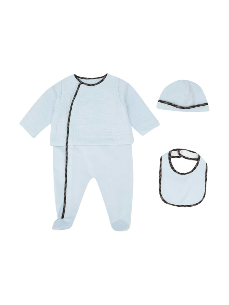 Fendi Three-piece Blue Baby Set - Azzurro