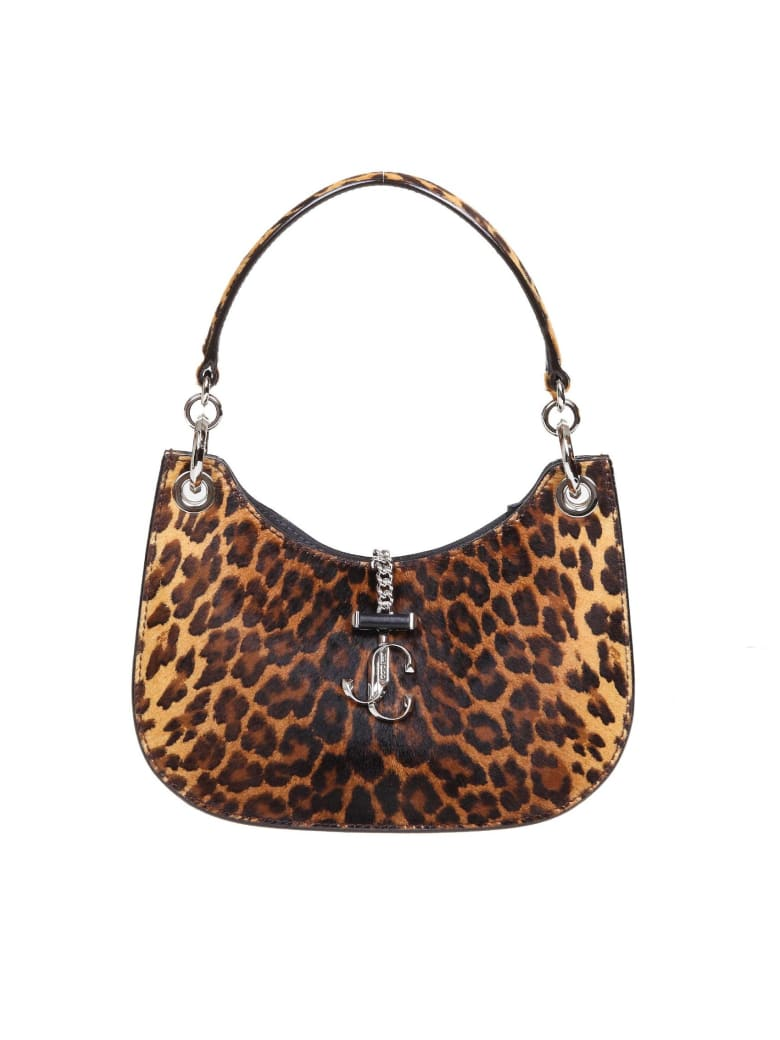 Jimmy Choo Varenne S Hobo Bag In Leopard Horse - Silver