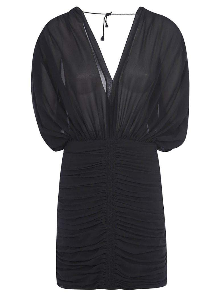 Saint Laurent V-neck Fitted Waist Mid-length Dress - Black