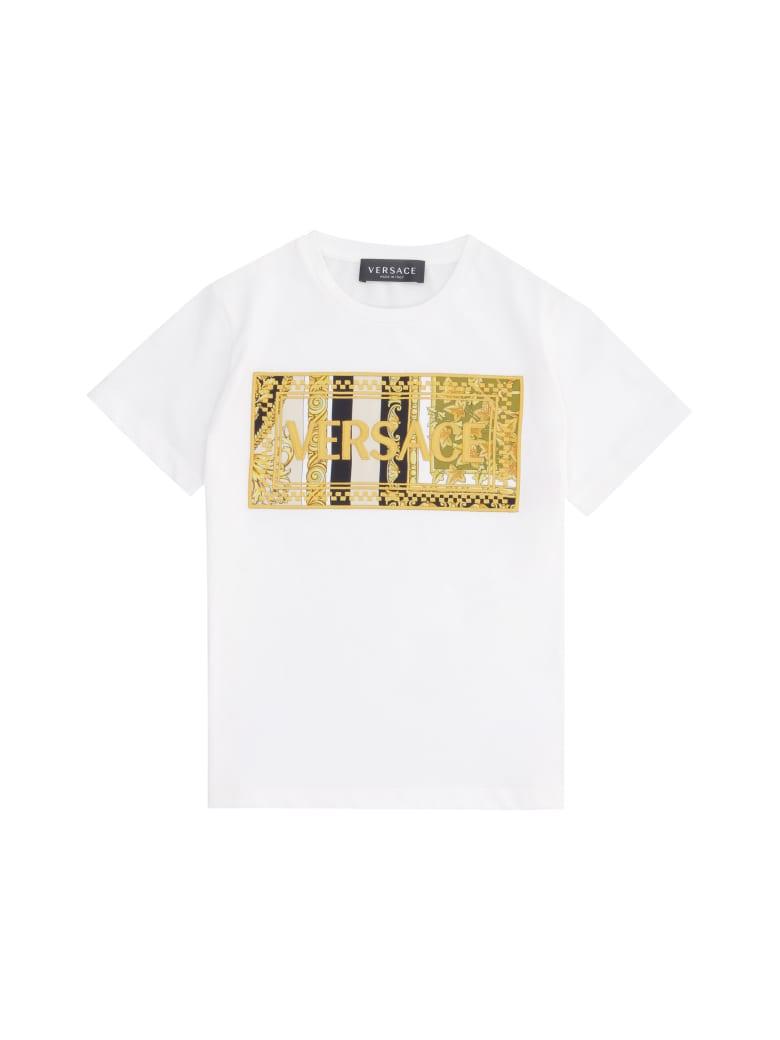 Young Versace Logo Cotton T-shirt - White
