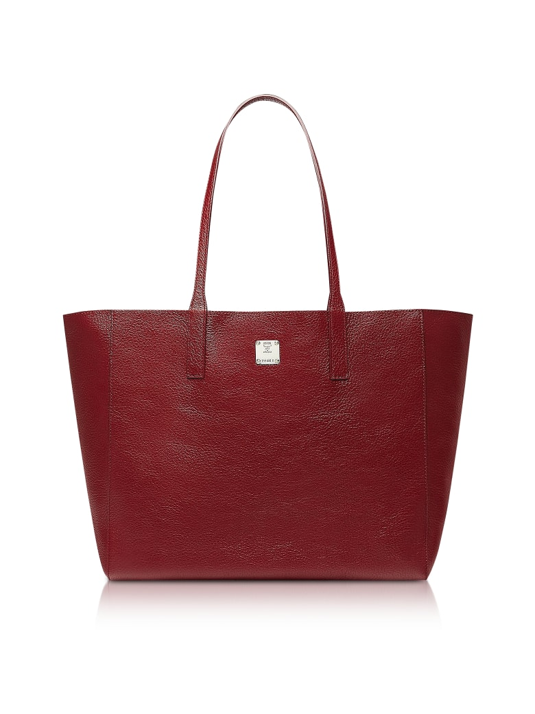 MCM Medium Metallic Leather Wandel Reversible Koppelene Shopper - Ruby
