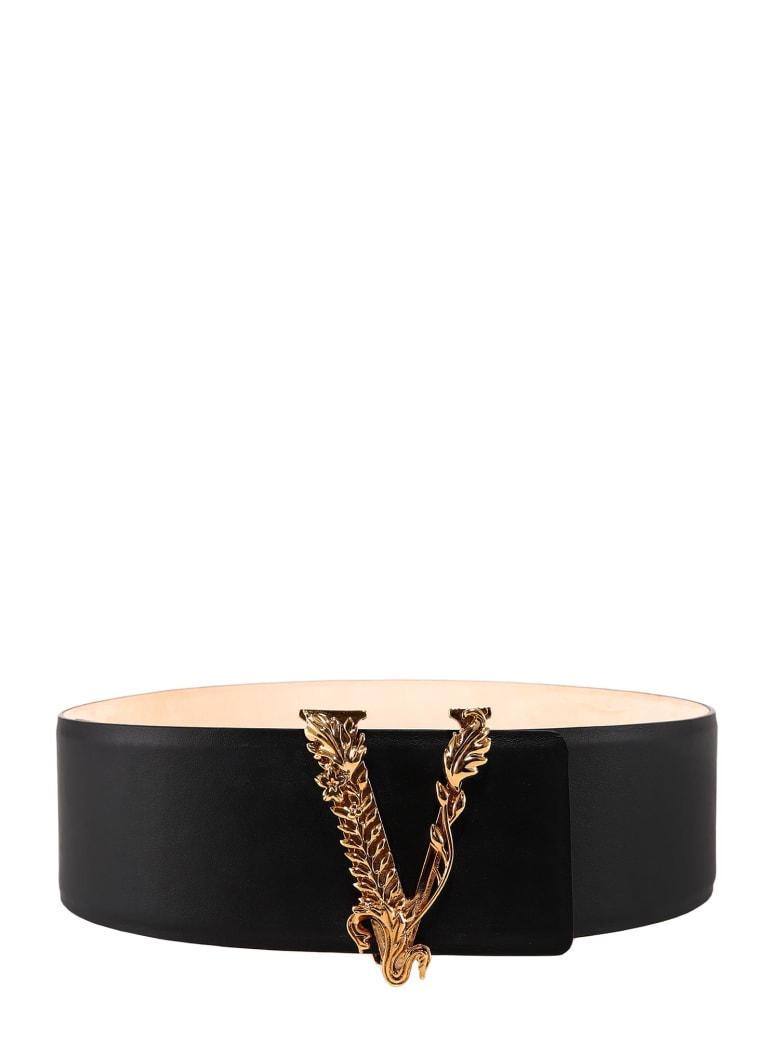 Versace V Logo Plaque Buckle Belt - Black/Tribute Gold