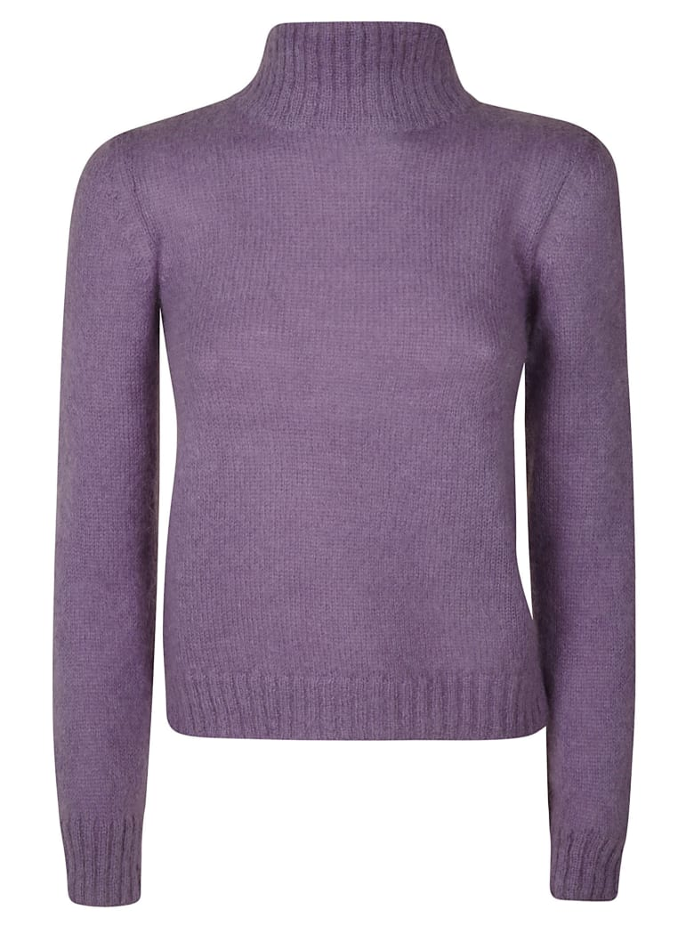 Alberta Ferretti Ribbed Neck Sweater - Violet