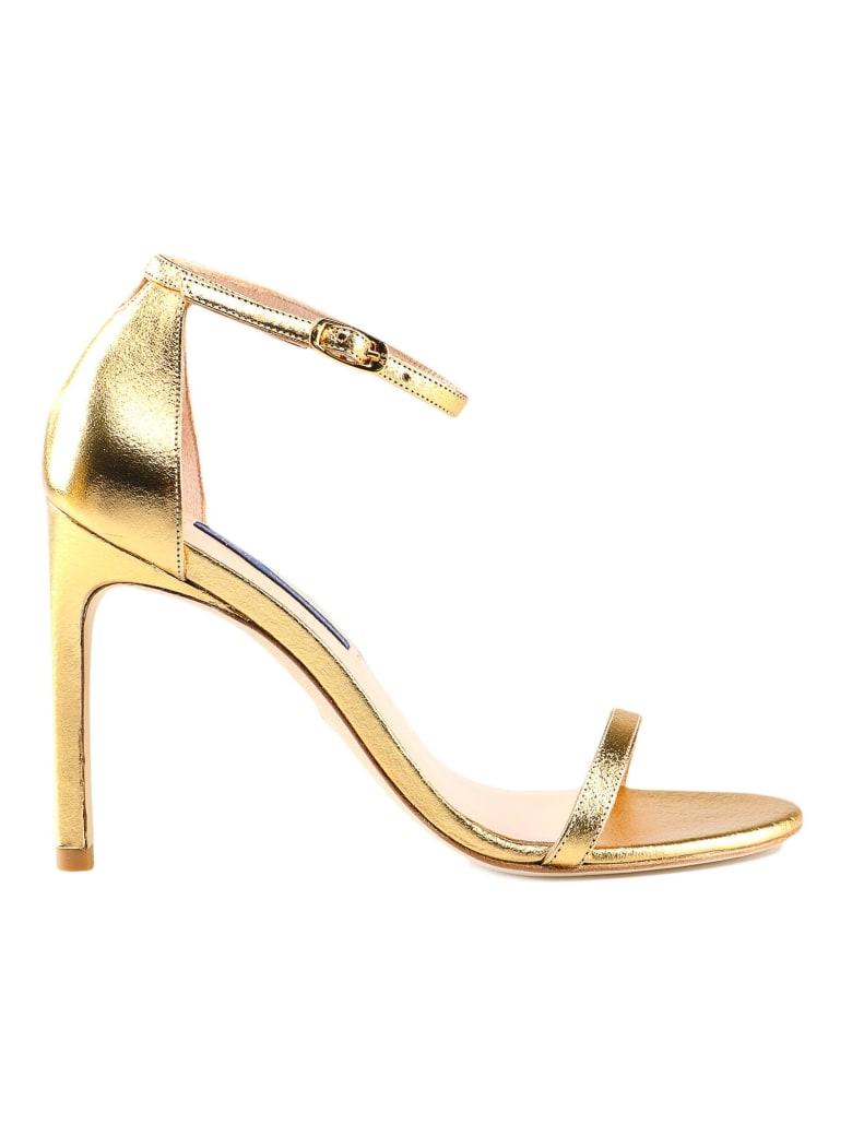 Stuart Weitzman Lame Lambskin Sandal - Gold