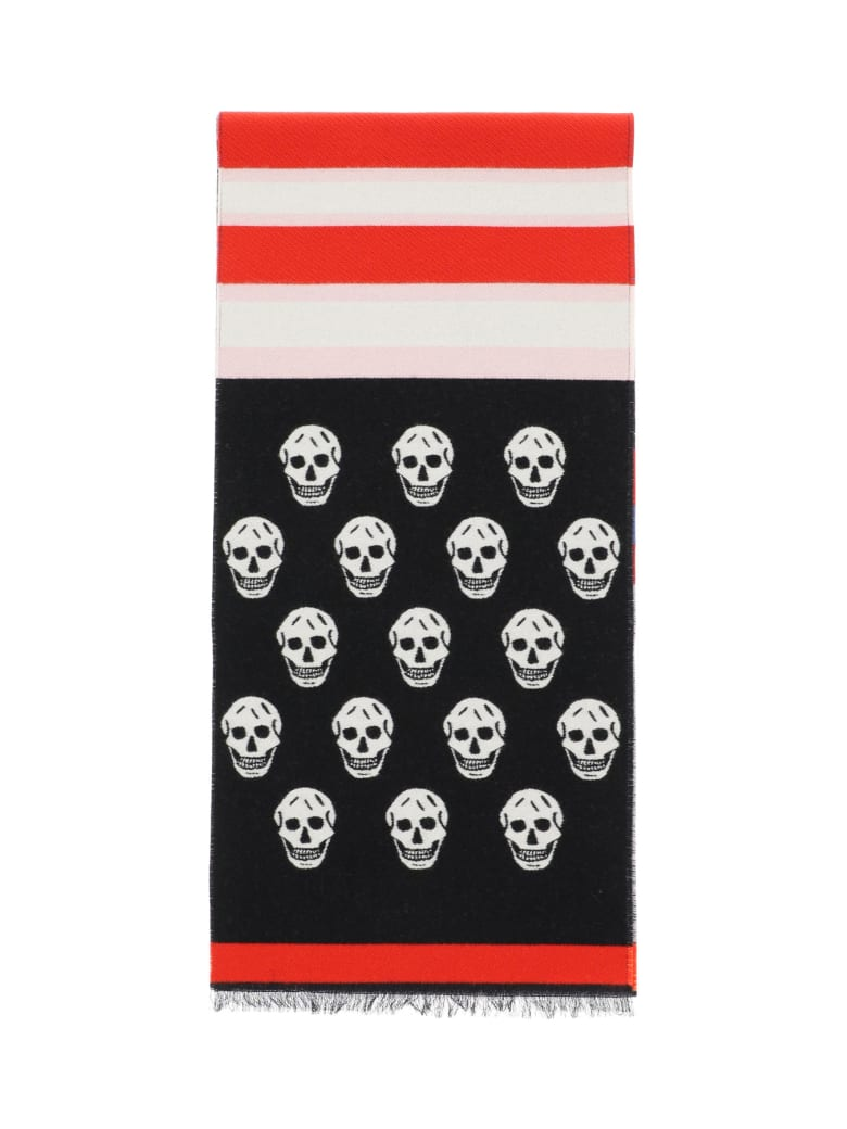 Alexander McQueen Scarf With Skull & Stripes - Multicolor