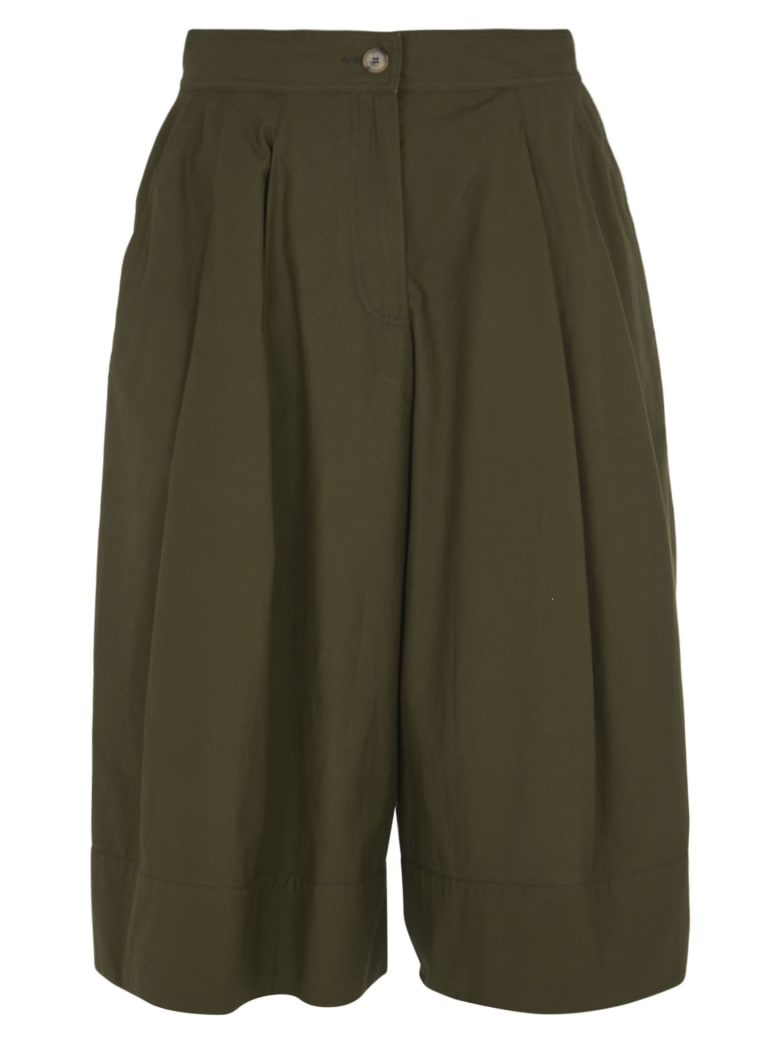 Moncler Buttoned Cropped Trousers - Green