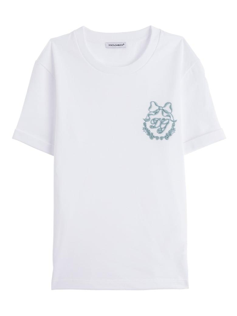 Dolce & Gabbana Embroidered Logo Tee - White