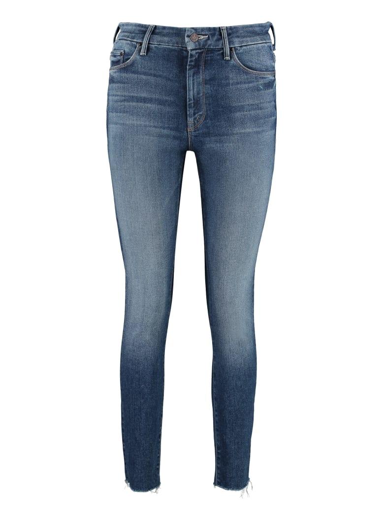 Mother High Waisted Looker Ankle Fray 5-pocket Jeans - Denim