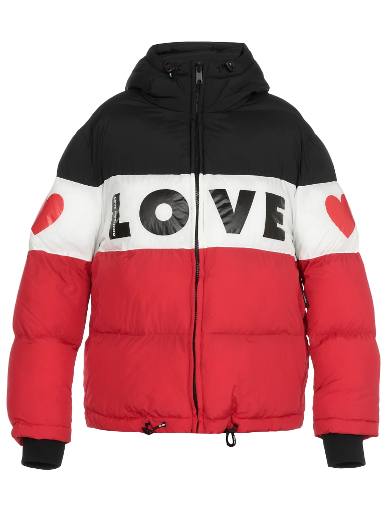 Love Moschino Quilted Coat With Logo - BLACK/WHITE/RED