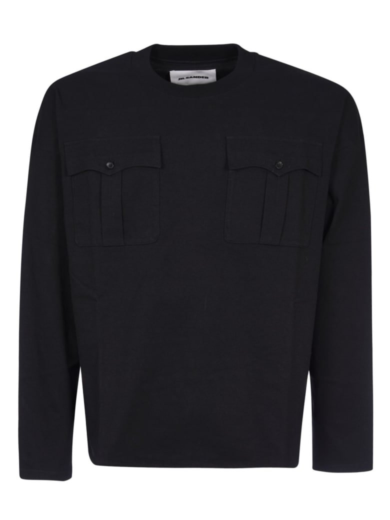 Jil Sander Front Patched Pocket Sweatshirt - Black