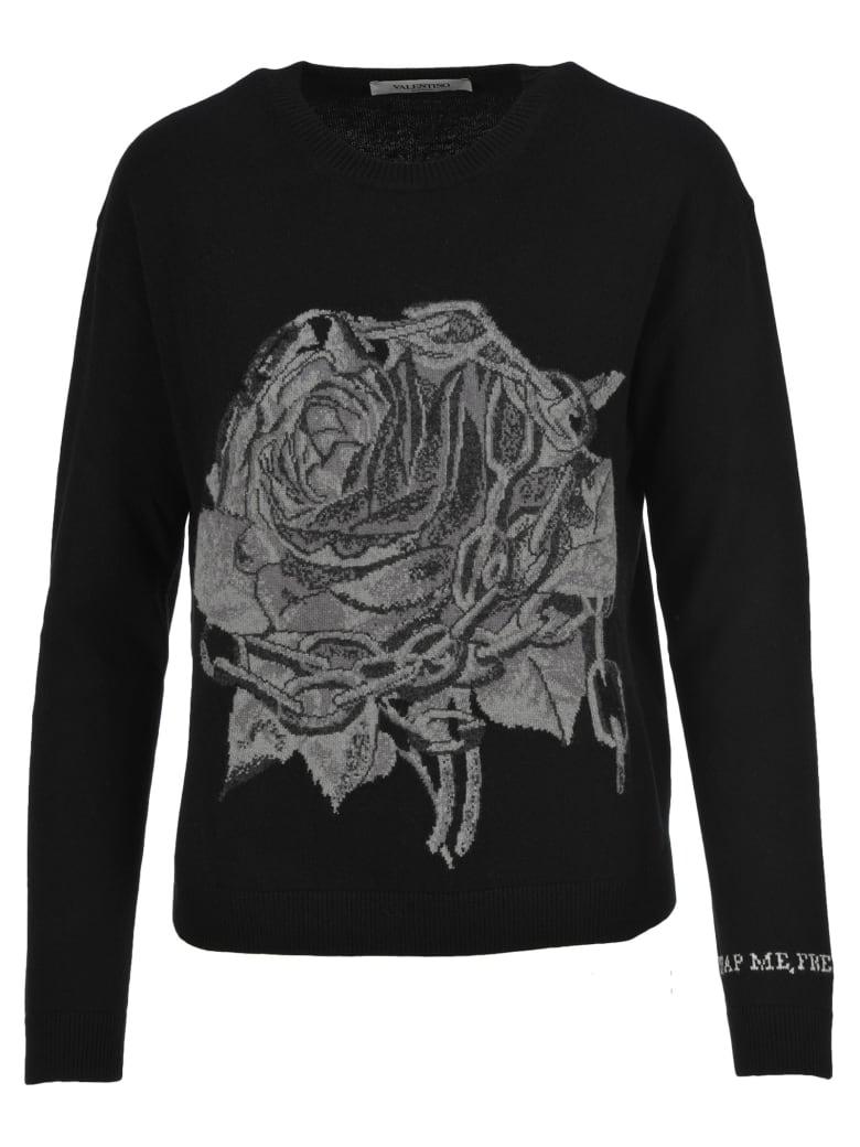 Valentino Rose Intarsia Sweater - BLACK