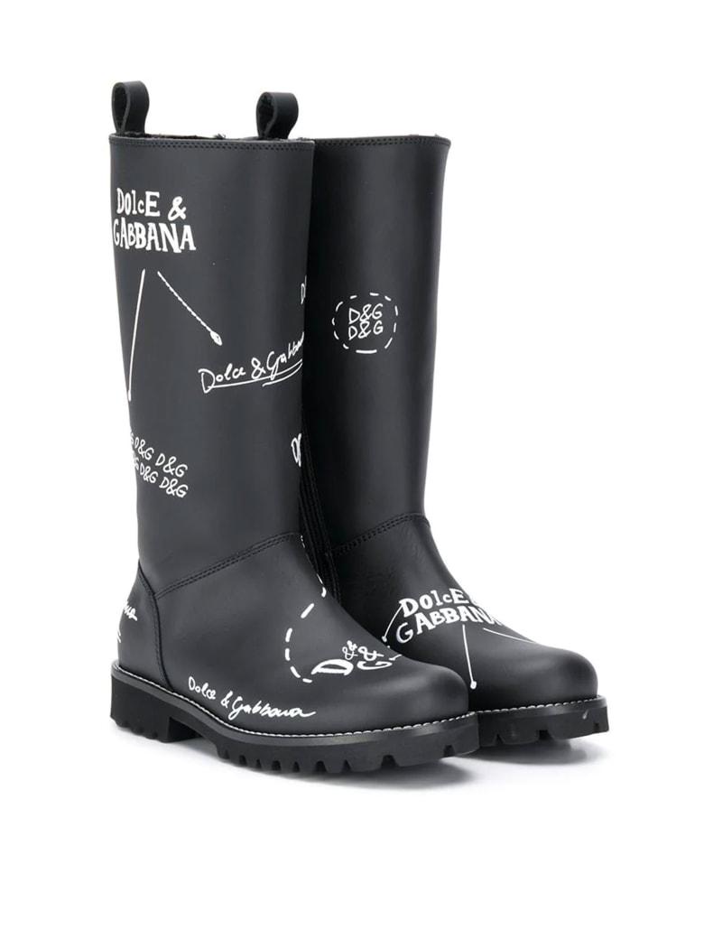 Dolce & Gabbana Black Teen Boots With White Print Dolce&gabbana Kids - Nero