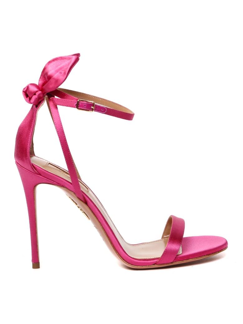 Aquazzura Deneuve Satin Sandals Heel 105mm - Exotic pink