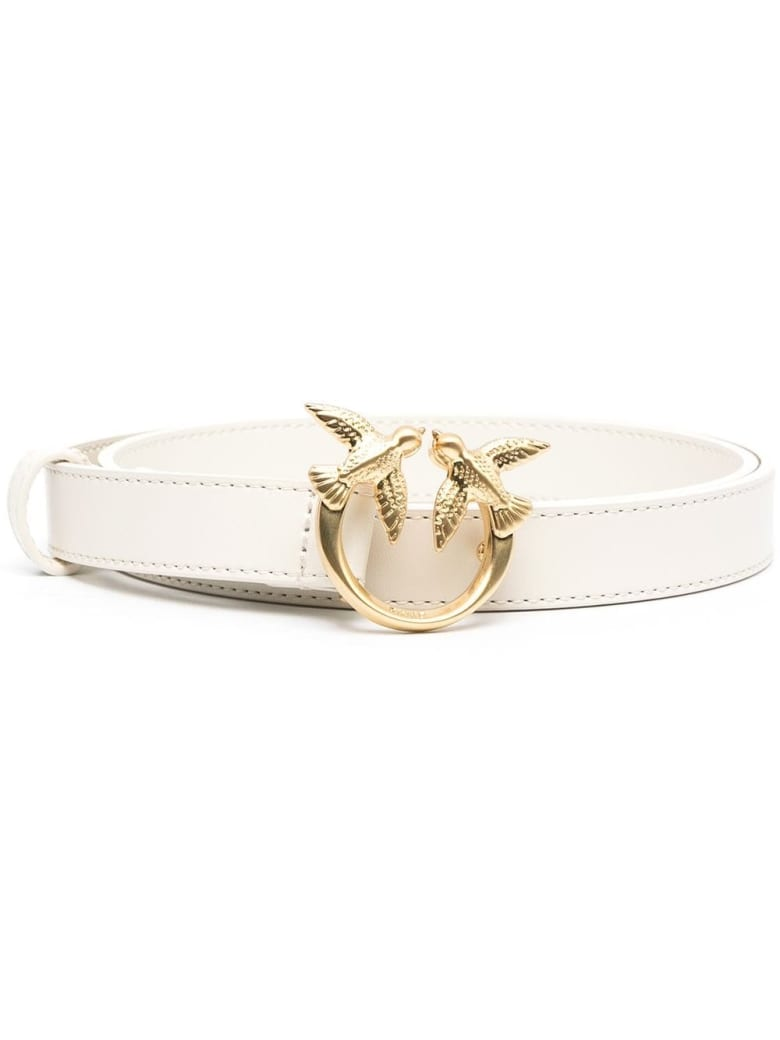 Pinko Love Berry Belt In White Leather With Logoed Buckle - Panna