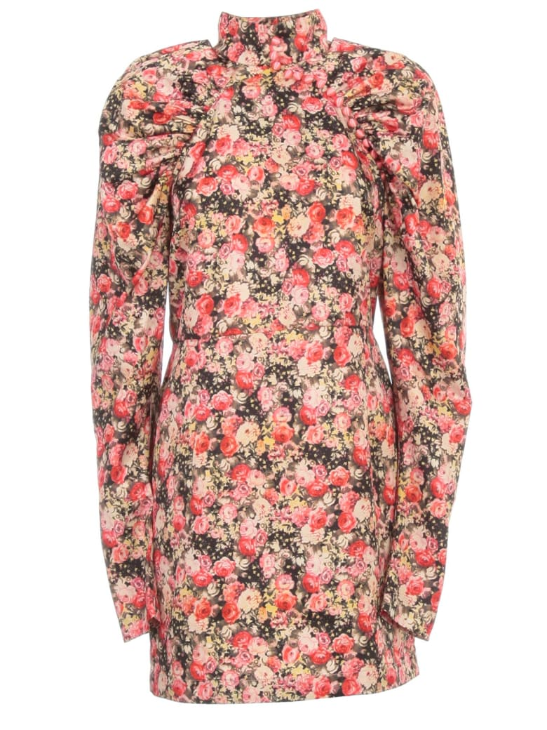 Rotate by Birger Christensen Kim Aop Dress L/s Mini High Neck - Whitecap Grey Aop