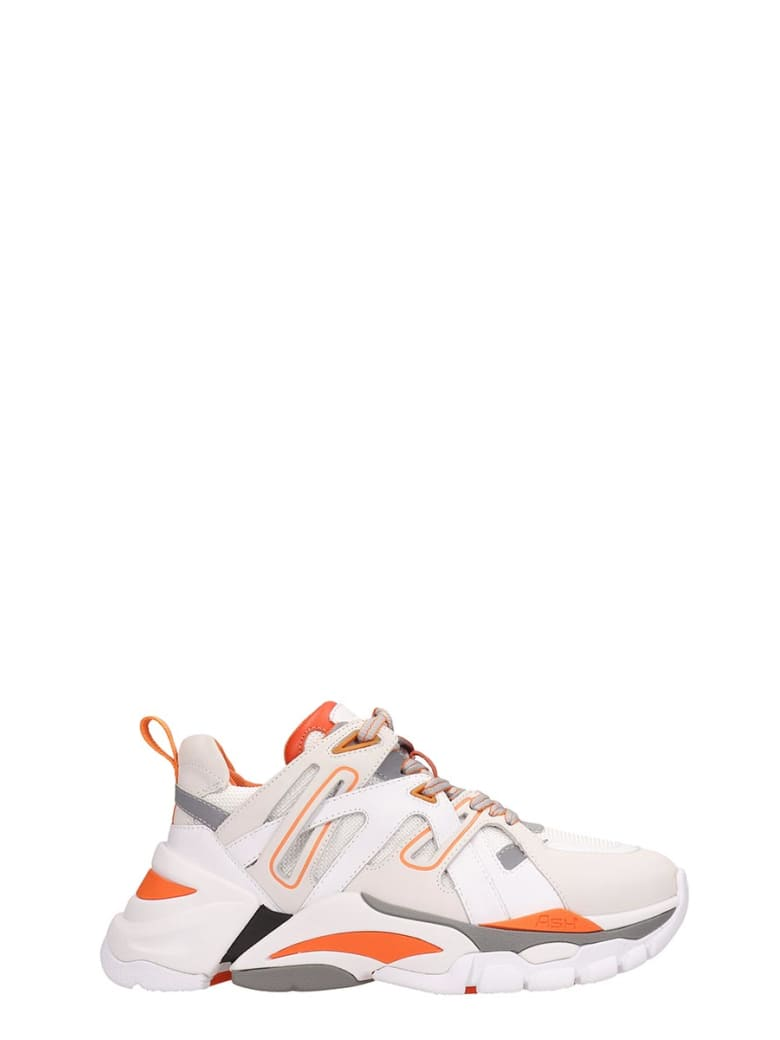Ash White And Orange Leather Flash Sneakers - white