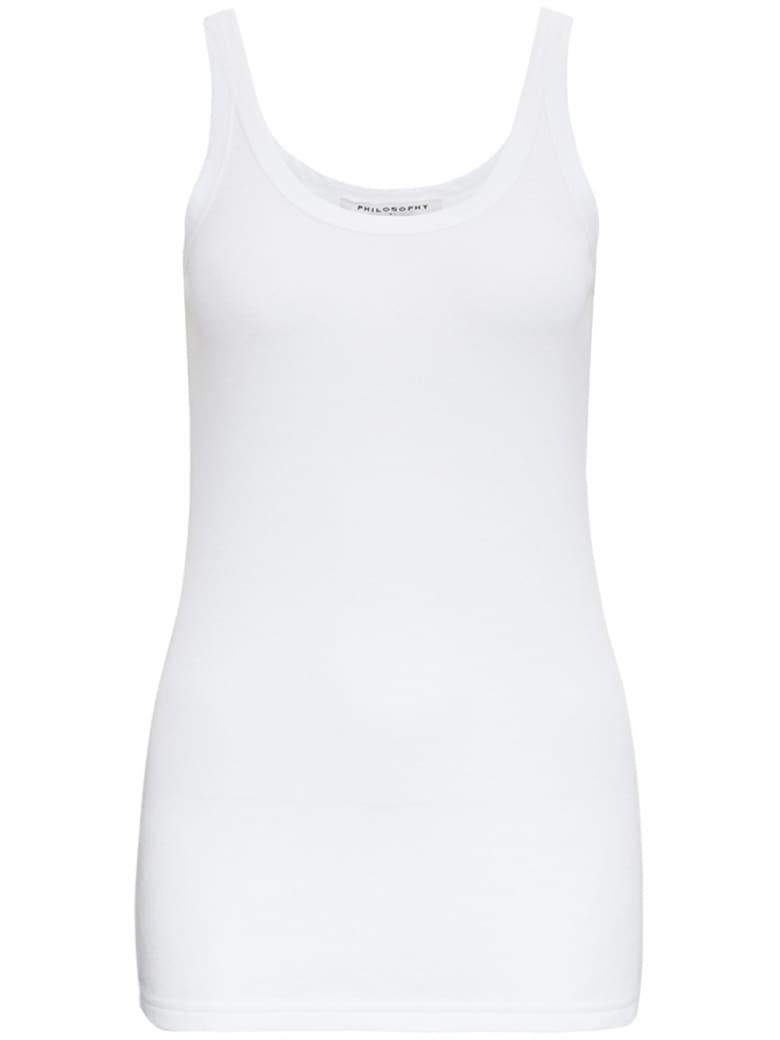 Philosophy di Lorenzo Serafini Ribbed Cotton Tank Top - White