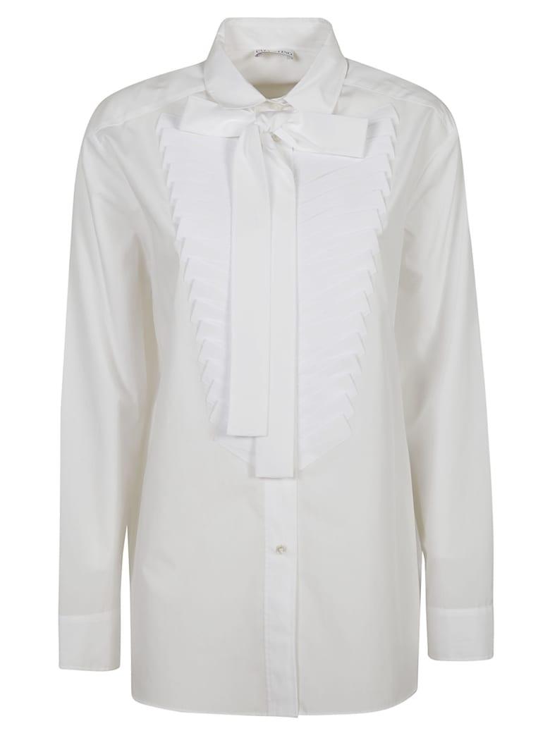RED Valentino Pleated Bib Bow-detailed Shirt - White