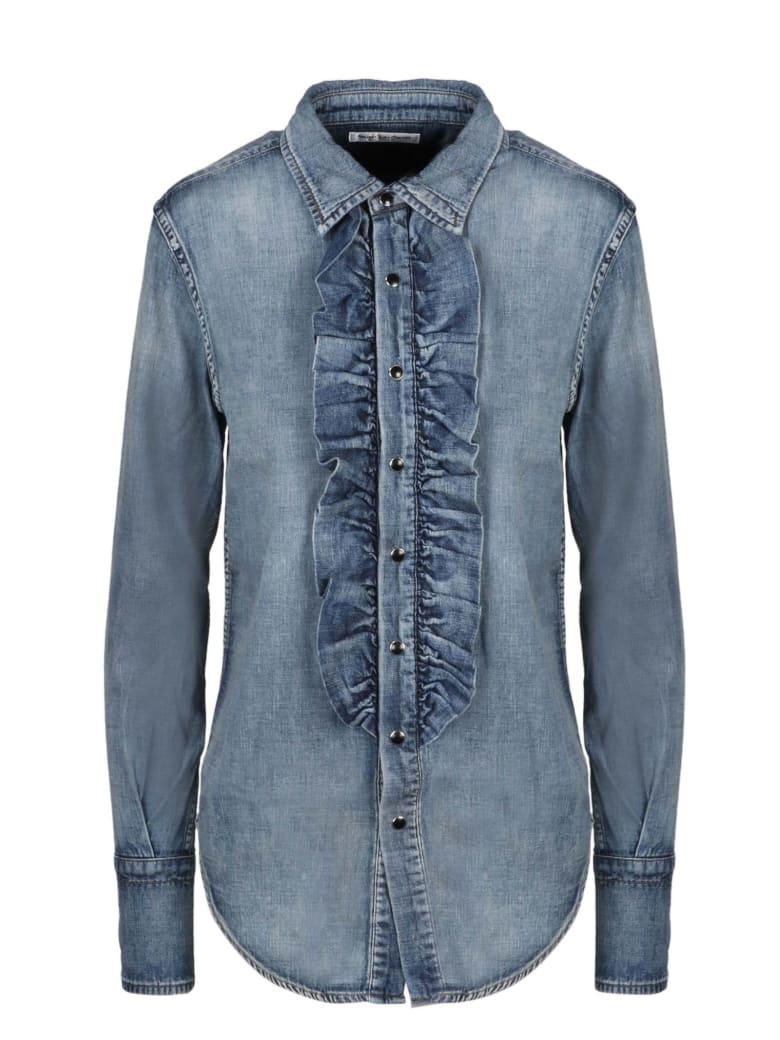 Saint Laurent Denim Ruffle Shirt - Blue