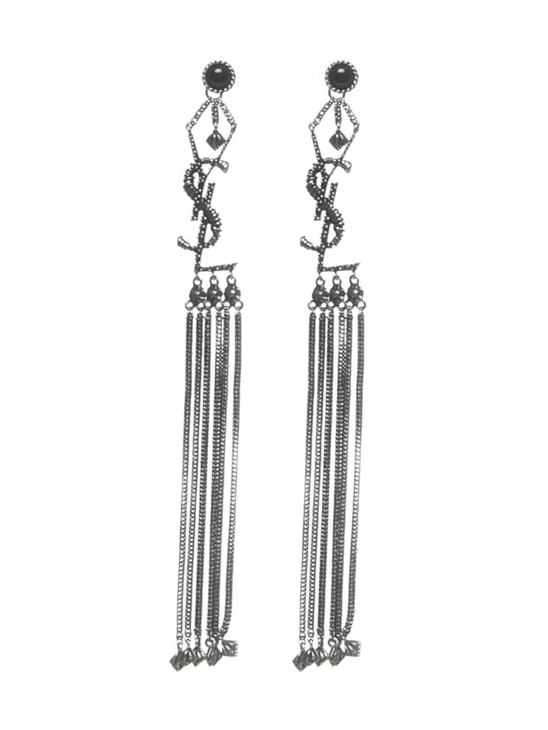 Saint Laurent Monogram Earrings - Silver